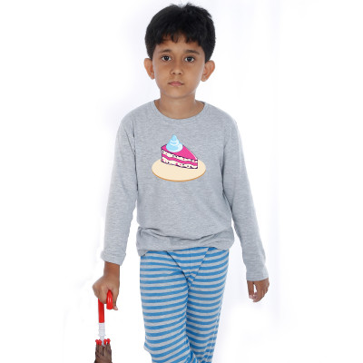 Grey Full Sleeve Boys Pyjama - Cake